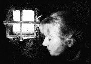 Woman Caught In A Black Room Prints - Window to the world Print by Gun Legler