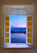 Lake Reflection Framed Prints - Window View of Dawn at the Sun Moon Lake Framed Print by Yali Shi