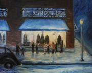 Snowy Night Painting Metal Prints - Window wishes Metal Print by Daniel W Green