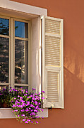 Color Purple Prints - Window With Shutter And Flowers Print by Carlos Sanchez Pereyra