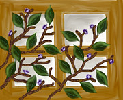 Light And Dark   Painting Prints - Window with tree branch Print by Devika Agarwal