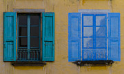 Blue Glass World Prints - Windows Print by Debra and Dave Vanderlaan