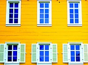 Clapboard House Photo Framed Prints - Windows On Yellow Framed Print by Randall Weidner