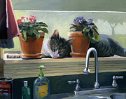 Windowsill Art - Windowsill Cat by Alecia Underhill