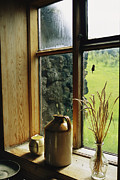 Jugs Framed Prints - Windowsill Of The Skogar Folk Museum Framed Print by Sisse Brimberg
