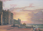Tree At Sunset Prints - Windsor Castle North Terrace looking west at sunse Print by Paul Sandby