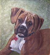 Boxer Puppy Paintings - Windsor by Elizabeth  Ellis