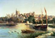 Swans Paintings - Windsor from the Thames   by Robert W Marshall