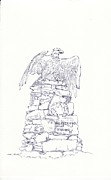 Eagle Drawing Drawings Originals - Windsor Green Patriots Memorial by T Visco
