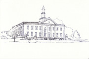 Connecticut Drawings Prints - Windsor Town Hall Building Print by T Visco
