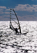 Cape Cod Metal Prints - windsurfer rides the water at West Dennis Beach on Cape Cod Metal Print by Matt Suess