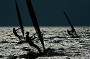 Hatteras Photos - Windsurfing At Cape Hatteras National by Raymond Gehman
