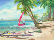 Martinique Posters - Windsurfing the Tropics Poster by Marguerite Chadwick-Juner