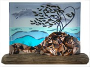 Trees Glass Art - Windswept by  Eleanor Brownridge