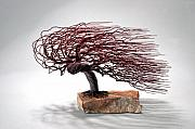 Winter Sculptures - Windswept Wire Tree by Mark Golomb
