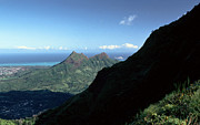 1984 Framed Prints - Windward Oahu from the Koolau Mountains Framed Print by Thomas R Fletcher
