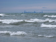 Indiana Dunes Posters - Windy City Skyline Poster by Ann Horn