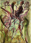 Dancers Paintings - Windy Day by Ikahl Beckford