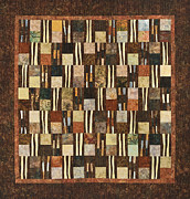 Traditional Quilts Tapestries - Textiles Metal Prints - Windy Earth Metal Print by Patty Caldwell