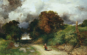Country Lane Prints - Windy Hilltop Print by Thomas Moran