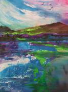 Landscapes Glass Art Prints - Windy MorningThe BurrenCoClare Ireland Print by Joyce Garvey