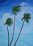 Cuban Mixed Media - Windy Palms by Juan Alcantara