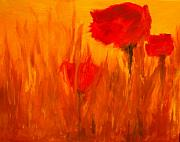 Poppies Artwork Paintings - Windy Red by Julie Lueders