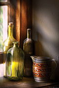 Wine - Three Bottles Print by Mike Savad
