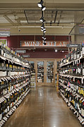 Wine Cellar Photos - Wine Aisle in a Supermarket by Robert Pisano