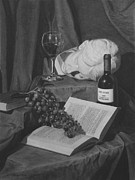 Wine-glass Drawings Prints - Wine and a Book Print by Michael Malta