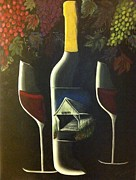 Wine Glasses Paintings - Wine and a Little More by Julie Cranfill