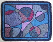 Circles Tapestries - Textiles Prints - Wine and Blues Print by Maureen McIlwain