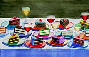 Dessert Wine Paintings - Wine And Cake by Cory Clifford