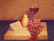 Wine Glass Pastels - Wine and Cheese by Carol Conrad