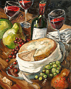 Brie Prints - Wine And Cheese Print by Carole Foret