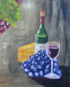 Wine Glasses Painting Originals - Wine and Cheese by Craig Wade