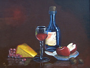Canvas Wine Prints Framed Prints - Wine and Cheese Framed Print by Maureen Diehl