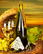 Vine Grapes Posters - Wine and cheese romantic dinner outdoor Poster by Anna Omelchenko