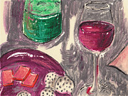 Red Wine Bottle Mixed Media Prints - Wine and Cheese Print by Suzanne Blender