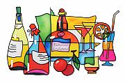 Food And Beverage Tapestries - Textiles Metal Prints - Wine and cocktail Metal Print by Tatiana  Antsiferova