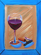 Cork Screw Framed Prints - Wine and Cork Framed Print by Michael Baum