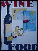 Wine-bottle Pastels - Wine and Food by Caprice Scott