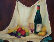 Wine Bottle Drawings Framed Prints - Wine and fruit Framed Print by Jane Landry  Read