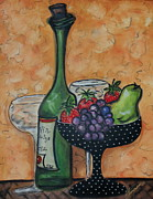 Fruit And Wine Originals - Wine and Fruits II by Yvonne Feavearyear