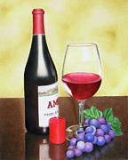 Wine Bottle Drawings - Wine and grapes by Ashley Macinnis