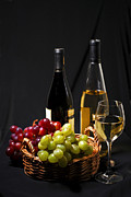 Basket Framed Prints - Wine and grapes Framed Print by Elena Elisseeva