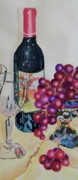Wine Glasses Mixed Media Prints - Wine and Grapes Print by Terry Honstead