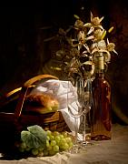 Flower Basket Posters - Wine and Romance Poster by Tom Mc Nemar