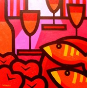 Wine Bottle Prints Paintings - Wine Apples Fish by John  Nolan