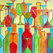 Wine Glasses Mixed Media Prints - Wine Bar Print by Char Swift